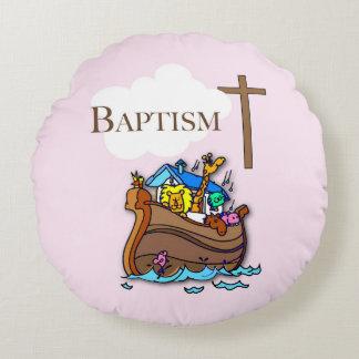 Customizable, Baby Girl Baptism Noah's Ark Round Pillow