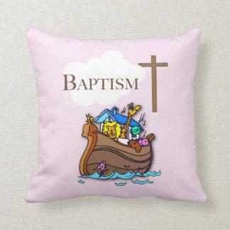 Customizable, Baby Girl Baptism Noah's Ark Throw Pillow