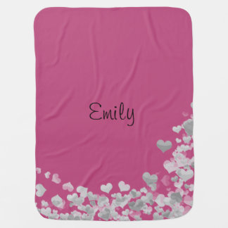 Customizable baby girl blanket.Pink with hearts. Baby Blanket