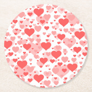 Customizable Background Color for Hearts Round Paper Coaster