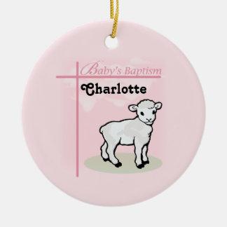 Customizable, Baptism, Pink, Girl, Lamb Ceramic Ornament