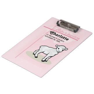 Customizable, Baptism, Pink, Girl, Lamb Clipboard