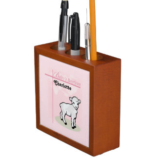 Customizable, Baptism, Pink, Girl, Lamb Desk Organizer