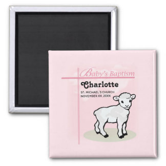Customizable, Baptism, Pink, Girl, Lamb Magnet