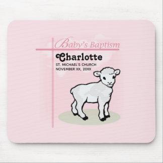 Customizable, Baptism, Pink, Girl, Lamb Mouse Pad