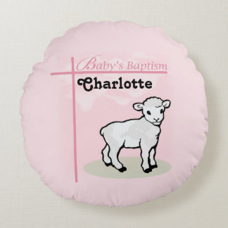 Customizable, Baptism, Pink, Girl, Lamb Round Pillow