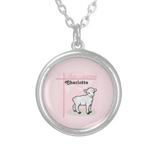 Customizable, Baptism, Pink, Girl, Lamb Silver Plated Necklace