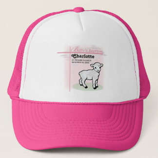 Customizable, Baptism, Pink, Girl, Lamb Trucker Hat