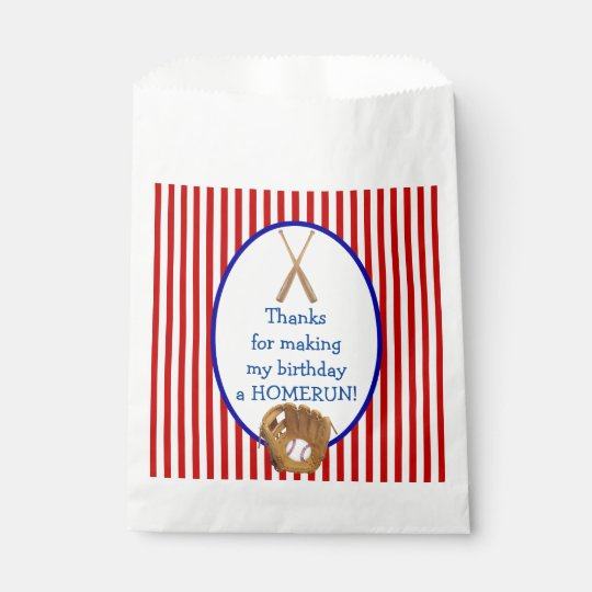 Customizable Baseball Birthday party favour bag