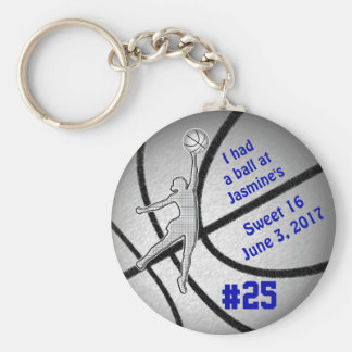 Customizable Basketball Party Favors for Girls Basic Round Button Keychain
