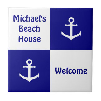 Customizable Beach House Nautical Anchor Tile