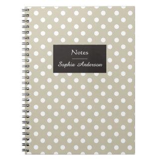 Customizable Beige Neutral Polka Dots Modern Chic Spiral Notebooks
