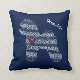 Customizable Bichon Frise Word Cloud Pillow