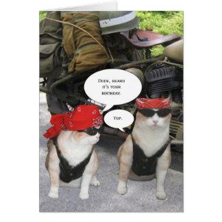 Customizable Biker Cat Card