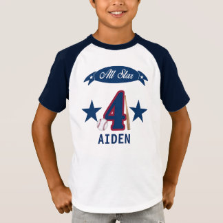 Customizable birthday baseball shirt for 4 yr old