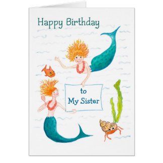 Customizable Birthday Card - Mermaids