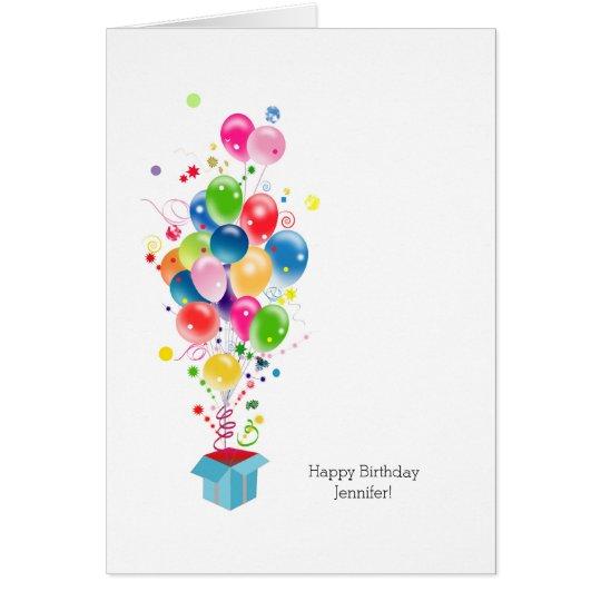 Customizable Birthday Cards Colourful Balloons