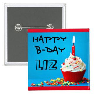 Customizable Birthday pin with cupcake