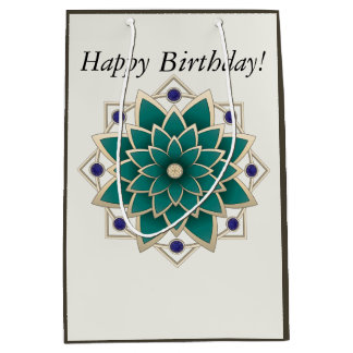 Customizable BirthdayTeal Floral Medallion Medium Gift Bag