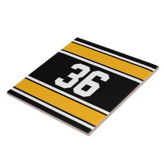 Customizable Black and Gold Sports Stripes Ceramic Tiles