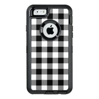 Customizable Black and White Buffalo Plaid OtterBox Defender iPhone Case