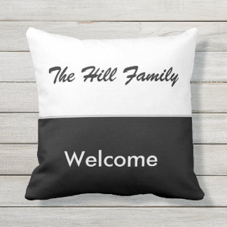 Customizable Black and White Outdoor Throw Pillow