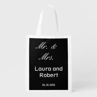 Customizable Black and White Reusable Wedding Bag
