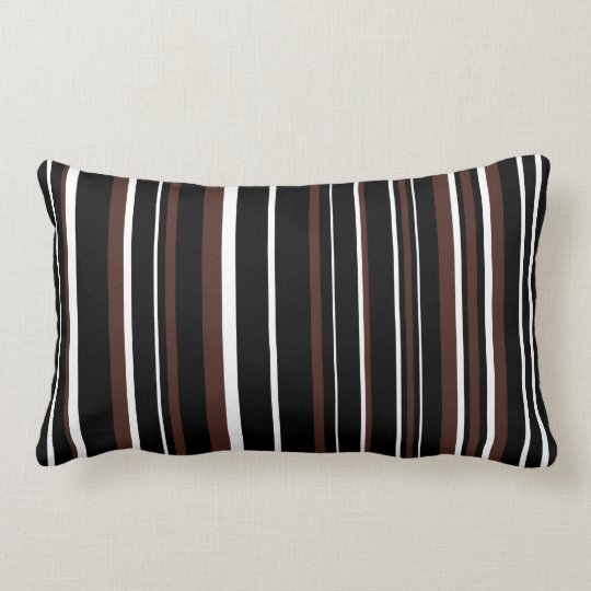 Customizable Black, Brown, & White Stripe Lumbar Pillow