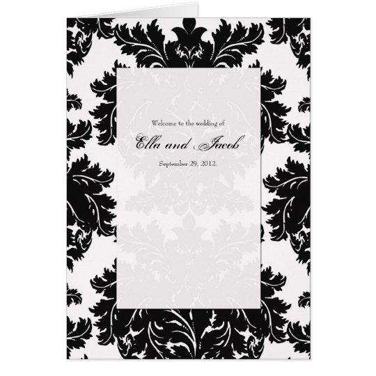Customizable Black Damask Wedding Program Folded
