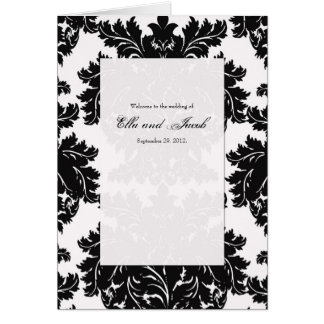 Customizable Black Damask Wedding Program Folded Greeting Card