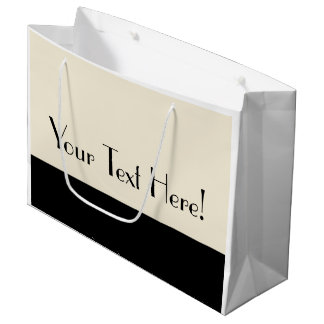 Customizable Black & Eggshell White Color Block Large Gift Bag