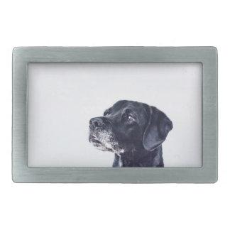 Customizable Black Labrador Retriever Rectangular Belt Buckle