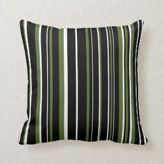 Customizable Black, Olive Green, & White Stripe Throw Pillow