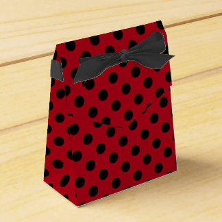 Customizable Black on Red Polka Dot Favor Box