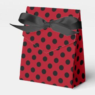 Customizable Black on Red Polka Dot Wedding Favor Boxes