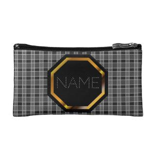 Customizable Black Plaid Cosmetics Bag