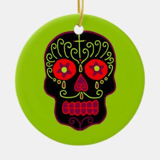 Customizable Black Sugar Skull Christmas Ornament