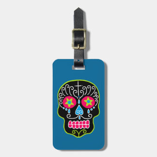 Customizable Black Sugar Skull Luggage Tag
