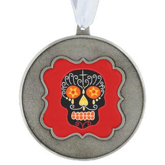 Customizable Black Sugar Skull Scalloped Pewter Ornament