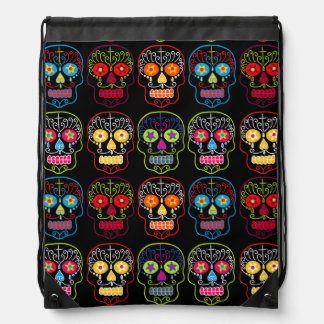 Customizable Black Sugar Skulls Drawstring Bag