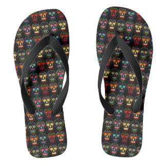 Customizable Black Sugar Skulls Flip Flops