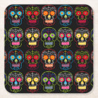 Customizable Black Sugar Skulls Square Paper Coaster