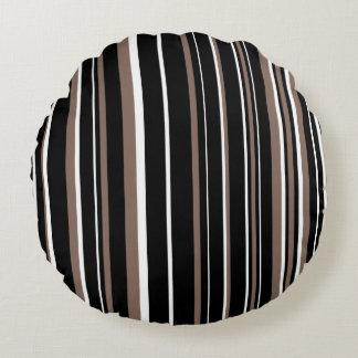 Customizable Black, Taupe Brown, & White Stripe Round Pillow