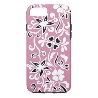 Customizable black & White floral pattern on pink iPhone 7 Case