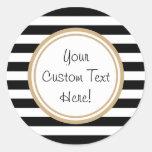 Customizable Black & White Striped Border Stickers
