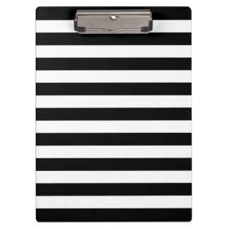 Customizable Black & White Striped Clipboard