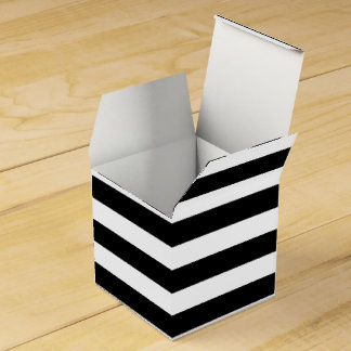 Customizable Black & White Striped Favor Box