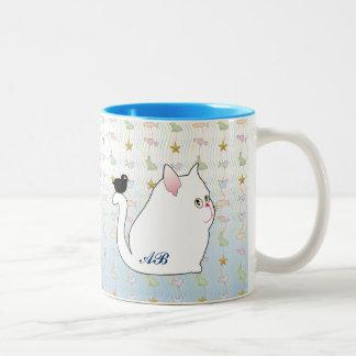 Customizable: Blackbird & fat black cat Two-Tone Coffee Mug