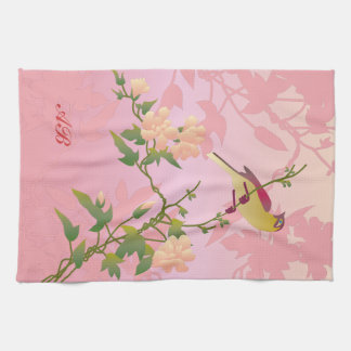 Customizable: Blossoms and bird Kitchen Towel