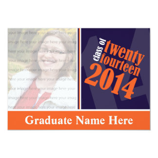 Customizable Blue and Orange Graduation Card